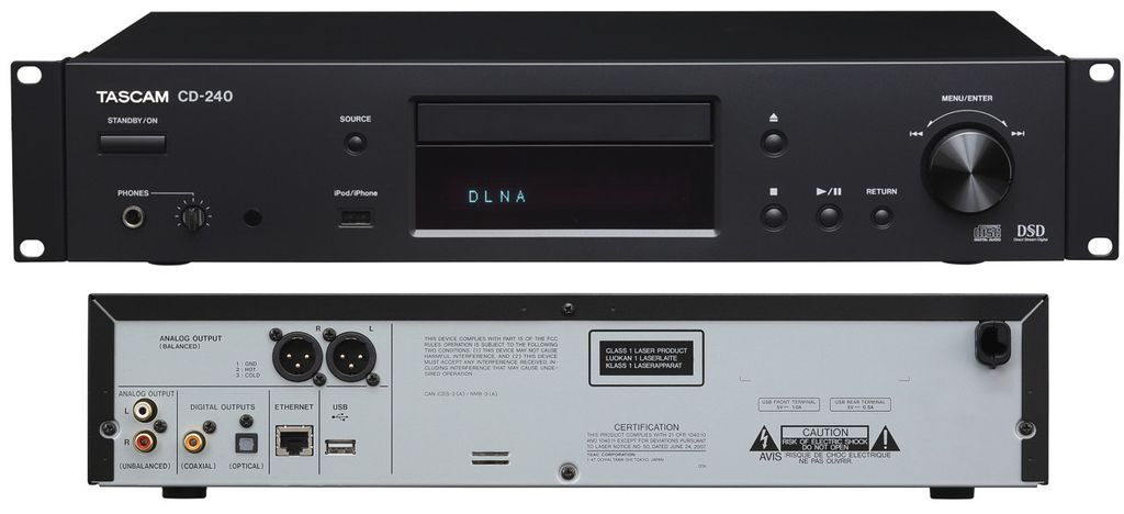 CD-проигр. сеть DLNA, Интерн. радио, CD-проигр. +SD/ SDHC/ USB, Audio CD, mp3, WAV, S/ PDIF TASCAM CD-240